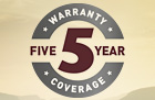 5 Year Warranty Coverage